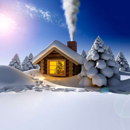A small cottage in the fairy forest in snowy New Years Eve. Around the hut on the snow trails