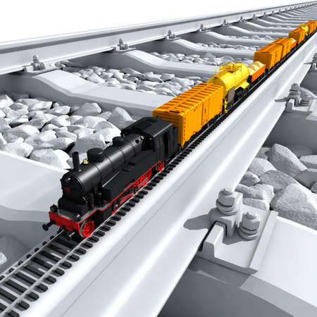 rail roads: A miniature model of the train - a steam locomotive, railway wagons, tank, platform with sand - on a full-scale rail Stock Photo