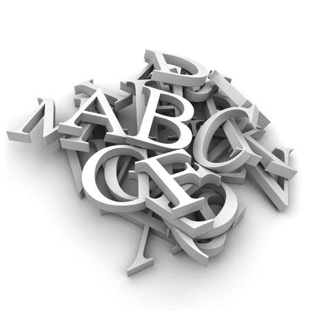 typesetting: Latin letters poured into a heap, isolated on a white background