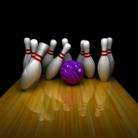 straight pin: Orange ball does strike! Physically correct simulation of swirling strike in bowling with the real 3D motion blur on Stock Photo