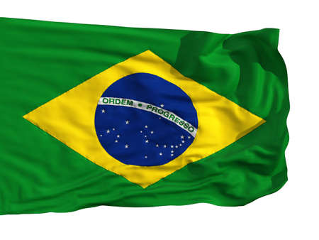 Flag of Brazil, fluttered in the wind. Sewn from pieces of cloth, a very realistic detailed flags waving in the wind, with the texture of the material, isolated on a white background Stock Photo