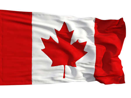 Flag of Canada, fluttered in the wind. Sewn from pieces of cloth, a very realistic detailed flags waving in the wind, with the texture of the material, isolated on a white background Stock fotó