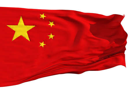 Flag of China, fluttered in the wind. Sewn from pieces of cloth, a very realistic detailed flags waving in the wind, with the texture of the material, isolated on a white background photo