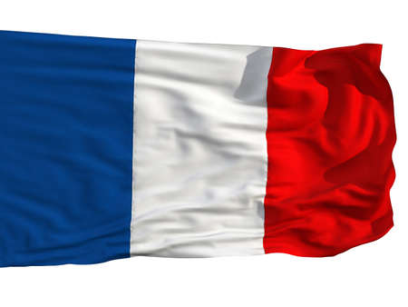 Flag of France, fluttered in the wind. Sewn from pieces of cloth, a very realistic detailed flags waving in the wind, with the texture of the material, isolated on a white background photo