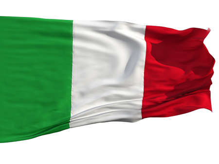 Flag of Italy, fluttered in the wind. Sewn from pieces of cloth, a very realistic detailed flags waving in the wind, with the texture of the material, isolated on a white background photo