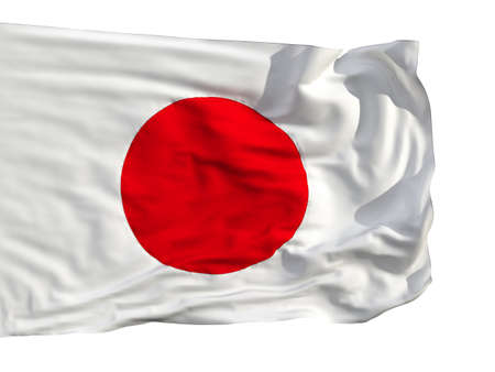 japanese symbol: Flag of Japan, fluttered in the wind. Sewn from pieces of cloth, a very realistic detailed flags waving in the wind, with the texture of the material, isolated on a white background