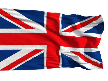 sewn: Flag of the United Kingdom, flying in the wind. Sewn from pieces of cloth, a very realistic detailed flags waving in the wind, with the texture of the material, isolated on a white background Stock Photo