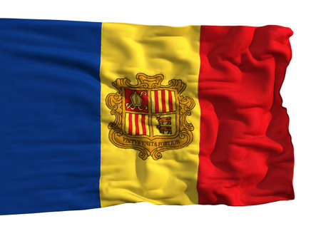 Flag of Andorra, fluttering in the wind. Sewn from pieces of cloth, a very realistic detailed flags waving in the wind, with the texture of the material, isolated on a white background photo