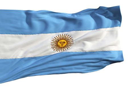 Flag of Argentina, fluttering in the wind. Sewn from pieces of cloth, a very realistic detailed flags waving in the wind, with the texture of the material, isolated on a white background photo