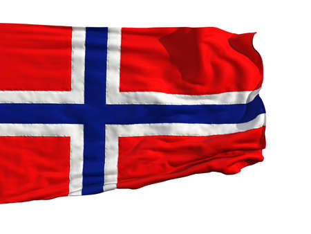 Norwegian flag, fluttering in the wind. Sewn from pieces of cloth, a very realistic detailed flags waving in the wind, with the texture of the material, isolated on a white background photo