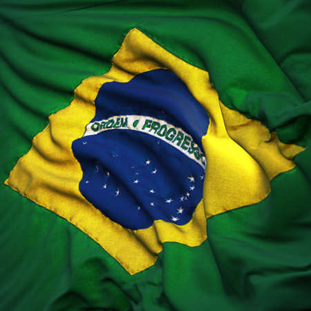 brazil symbol: Flag of Brazil, fluttering in the breeze, backlit rising sun. Sewn from pieces of cloth, a very realistic detailed state flag with the texture of fabric fluttering in the breeze, backlit by the rising sun light