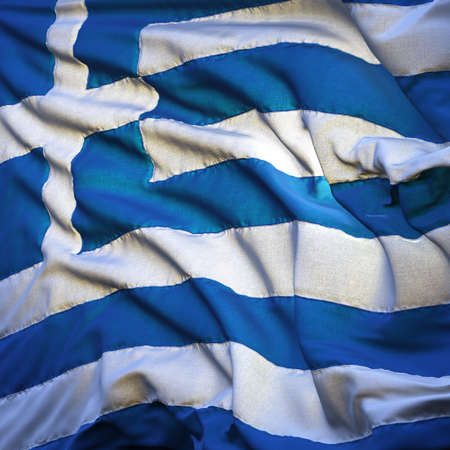 Flag of Greece, fluttering in the breeze, backlit rising sun. Sewn from pieces of cloth, a very realistic detailed state flag with the texture of fabric fluttering in the breeze, backlit by the rising sun light photo