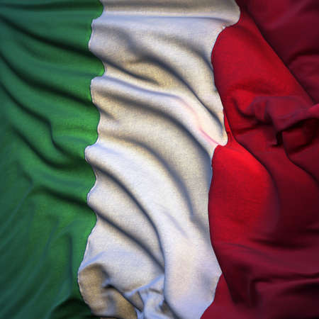 fluttering: Flag of Italy, fluttering in the breeze, backlit rising sun. Sewn from pieces of cloth, a very realistic detailed state flag with the texture of fabric fluttering in the breeze, backlit by the rising sun light Stock Photo