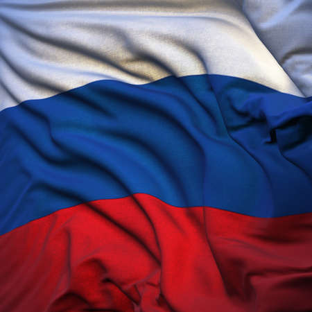 Russian flag, fluttering in the breeze, backlit rising sun. Sewn from pieces of cloth, a very realistic detailed state flag with the texture of fabric fluttering in the breeze, backlit by the rising sun light Stock Photo - 8829370
