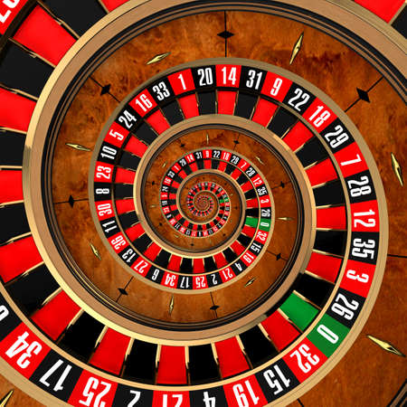 The concept of gambling at roulette, spanning a player in a spiral vortex photo