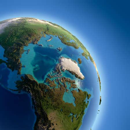 Ein Fragment der Erde mit hohem Relief, detaillierte Oberfläche, klaren Meer und Atmosphäre, beleuchtet durch Sonnenlicht Standard-Bild