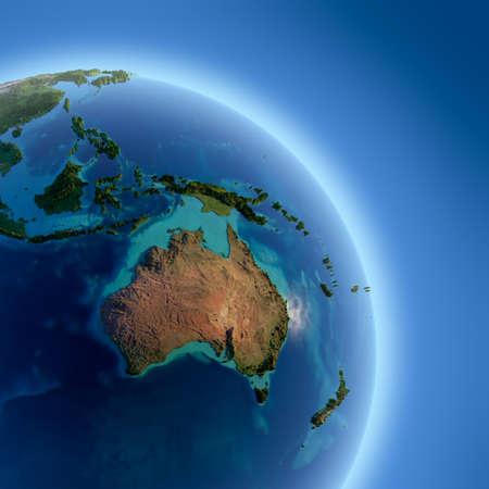 Een fragment van de aarde met een hoog reliëf, gedetailleerde oppervlakte, doorschijnend oceaan en atmosfeer, verlicht door zonlicht
