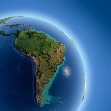 Een fragment van de aarde met hoog reliëf, gedetailleerde oppervlakte, doorschijnend oceaan en atmosfeer, verlicht door zonlicht Stockfoto
