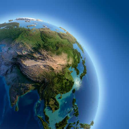 Ein Fragment der Erde mit hohem Relief, detaillierte Oberfläche, durchscheinend Ozean und Atmosphäre, beleuchtet durch Sonnenlicht