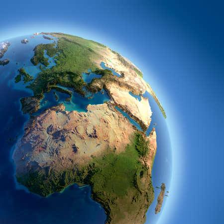 mapa de africa: Un fragmento de la Tierra con alto relieve, la superficie detallada, transl�cido, y la atm�sfera, iluminada por la luz del sol Foto de archivo