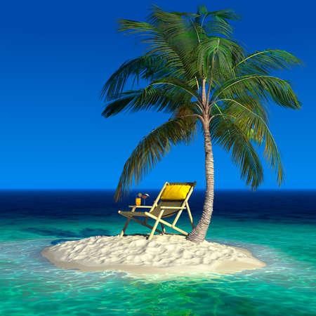 Realistische recreatie begrip onder een palmboom op een klein onbewoond tropisch eiland Stockfoto