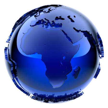 map of africa: Blue glass globe with frosted continents a little stand out from the water surface Stock Photo
