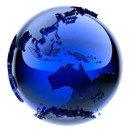 Blue glass globe with frosted continents a little stand out from the water surface Stock Photo
