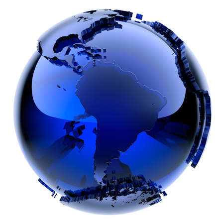 Blue glass globe with frosted continents a little stand out from the water surface Stock fotó