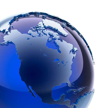 north america: A fragment of blue glass globe with stylized faceted continents of frosted glass, a little stand out from the ocean surface