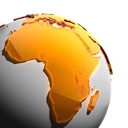 mapa de africa: Un fragmento del globo con los continentes de grueso cristal facetado ámbar, que se celebra luz dura, creando un brillo cáustico en la cara. Aislado sobre fondo blanco