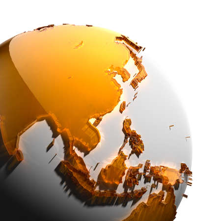 the caustic: A fragment of the globe with the continents of thick faceted amber glass, which falls on hard light, creating a caustic glare on faces. Isolated on white background
