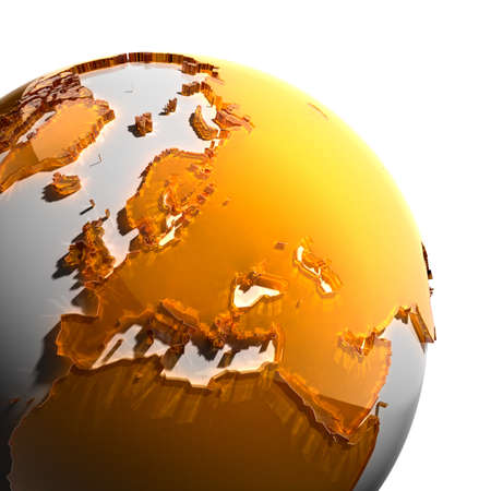 A fragment of the globe with the continents of thick faceted amber glass, which falls on hard light, creating a caustic glare on faces. Isolated on white background photo
