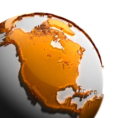 mexico map: A fragment of the globe with the continents of thick faceted amber glass, which falls on hard light, creating a caustic glare on faces. Isolated on white background