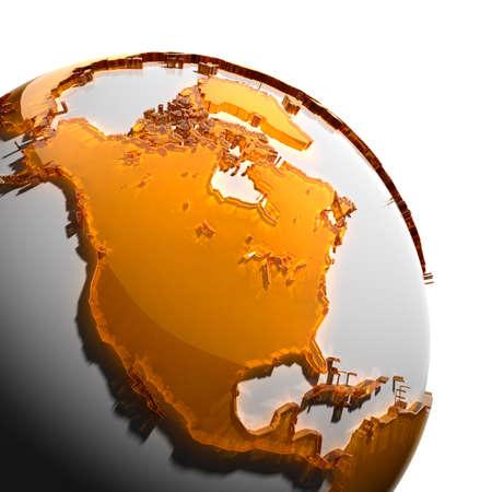 ámbar: Un fragmento del globo con los continentes de grueso cristal tallado color �mbar, que cae en una luz dura, creando una mirada c�ustica en la cara. Aislado sobre fondo blanco