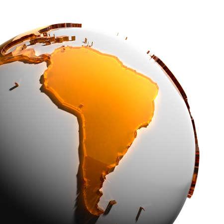 south america: Un fragmento del globo con los continentes de grueso cristal tallado color �mbar, que cae en una luz dura, creando una mirada c�ustica en la cara. Aislado sobre fondo blanco