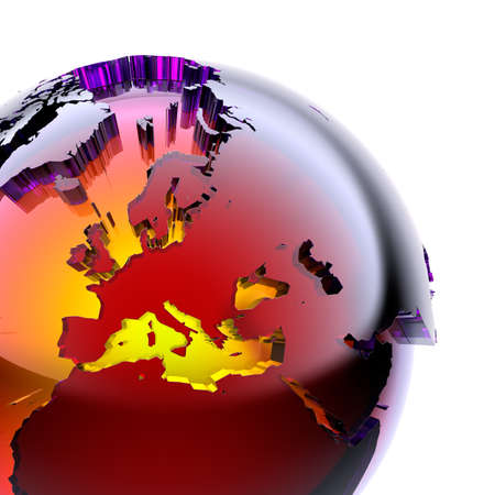 Fragment of a glass globe with a prominent stylized continents of stained glass with beveled, which glows from the inside with warm bright light. On a white background Stock fotó