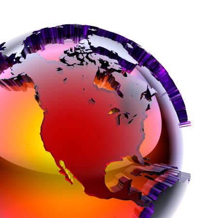 Fragment of a glass globe with a prominent stylized continents of stained glass with beveled, which glows from the inside with warm bright light. On a white background photo