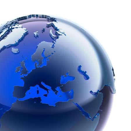 mapa de europa: Un fragmento del globo de cristal azul con estilizados continentes facetas de vidrio esmerilado, un poco más se destacan de la superficie del océano