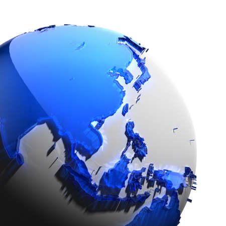 A fragment of the globe with the continents of thick faceted blue glass, which falls on hard light, creating a caustic glare on faces. Isolated on white background photo
