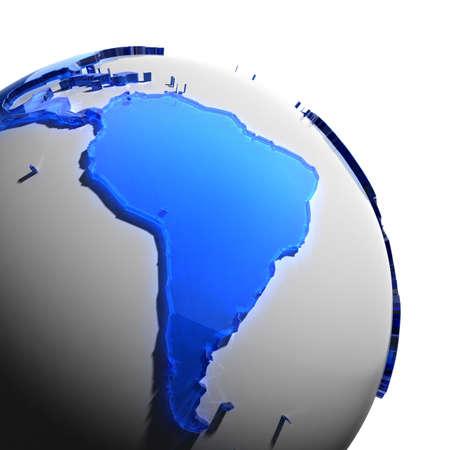 mapa del peru: Un fragmento del globo con los continentes de grosor de vidrio facetado color azul, que cae en una luz dura, creando una mirada cáustica en la cara. Aislado sobre fondo blanco