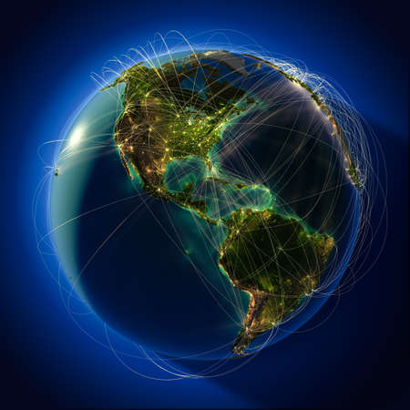 trajectory: Highly detailed planet Earth at night, lit from behind the evening sun, with embossed continents, illuminated by light of cities, translucent and reflective ocean. Earth is surrounded by a luminous network, representing the major air routes based on real