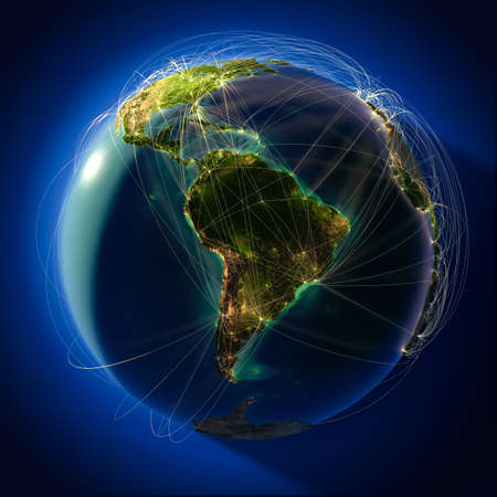 south america map: Highly detailed planet Earth at night, lit from behind the evening sun, with embossed continents, illuminated by light of cities, translucent and reflective ocean. Earth is surrounded by a luminous network, representing the major air routes based on real