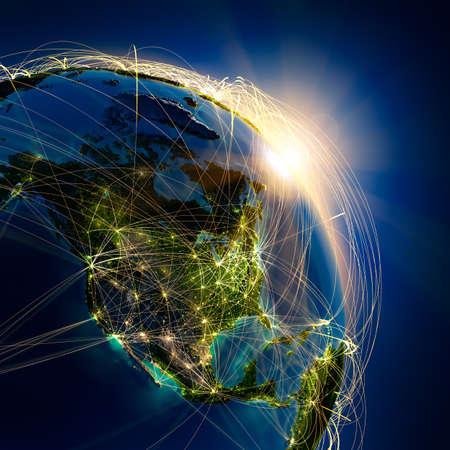 Sehr detaillierte Planeten Erde bei Nacht, beleuchtet durch die aufgehende Sonne, mit geprägtem Kontinenten, durch Licht der Städte, durchscheinenden und reflektierenden Meer beleuchtet. Die Erde ist von einem leuchtenden Netz umgeben, welche die wichtigen Flugstrecken auf realen Daten