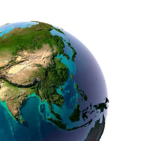 Earth with translucent water in the oceans and the detailed topography of the continents. A fragment of the Asia and Oceania. Isolated on white Stock Photo