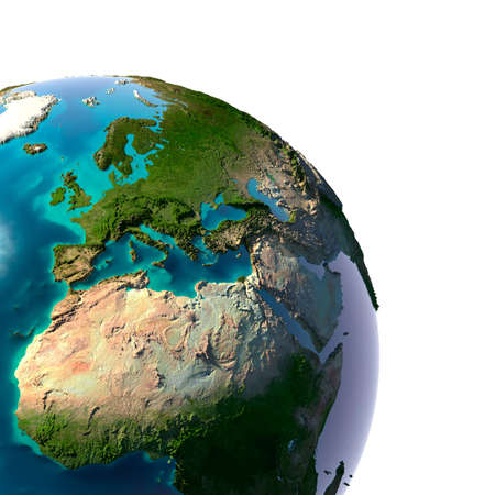 Earth with translucent water in the oceans and the detailed topography of the continents. A fragment of the Earth, with Europe and Africa. Isolated on white photo