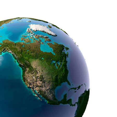 Aarde met doorschijnende water in de oceanen en de gedetailleerde topografie van de continenten. Detail van de aarde met Noord-Amerika. Geà ¯ soleerd op wit. Stockfoto