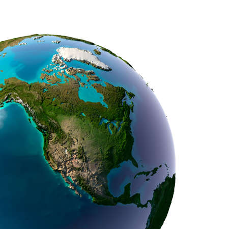 Earth with translucent water in the oceans and the detailed topography of the continents. Detail of the Earth with North America. Isolated on white. Stock Photo - 12651789