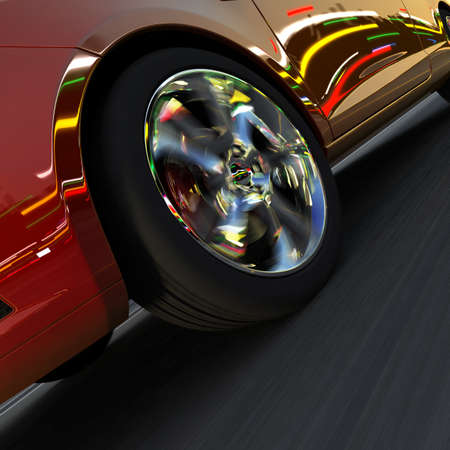 A fragment of a dynamic racing car  On the surface of the car and light-alloy wheels reflect the dynamic lights of evening city