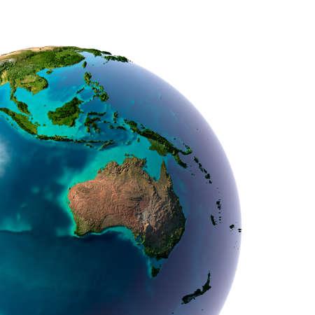 바다에있는 반투명 물과 호주와 오세아니아의 조각, 화이트에 격리 대륙의 상세한 지형 지구 스톡 콘텐츠
