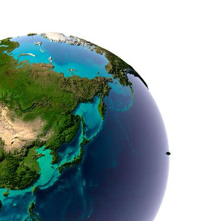 far east: Tierra con agua transparente en los oc�anos y la topograf�a detallada de los continentes Un fragmento del Lejano Oriente, aislado en blanco